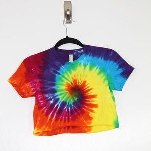 Tie Dye Crop Top Festival T-Shirt Cute Rainbow